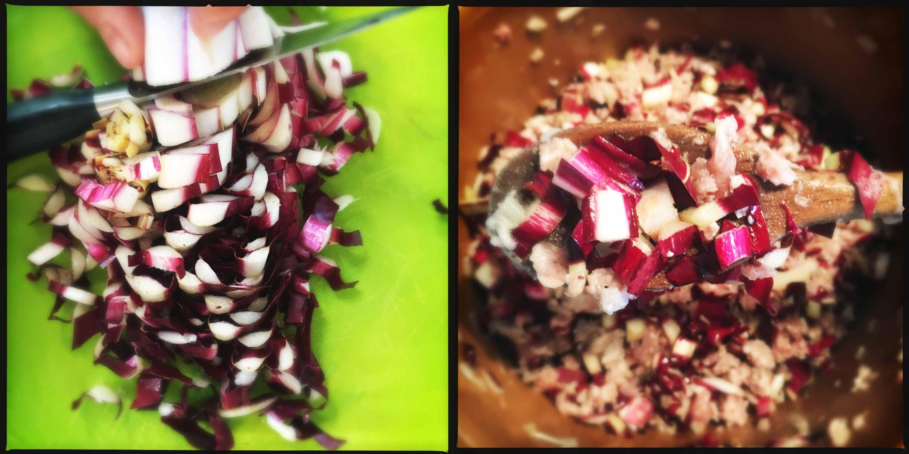 pasta con radicchio, taleggio e salsiccia