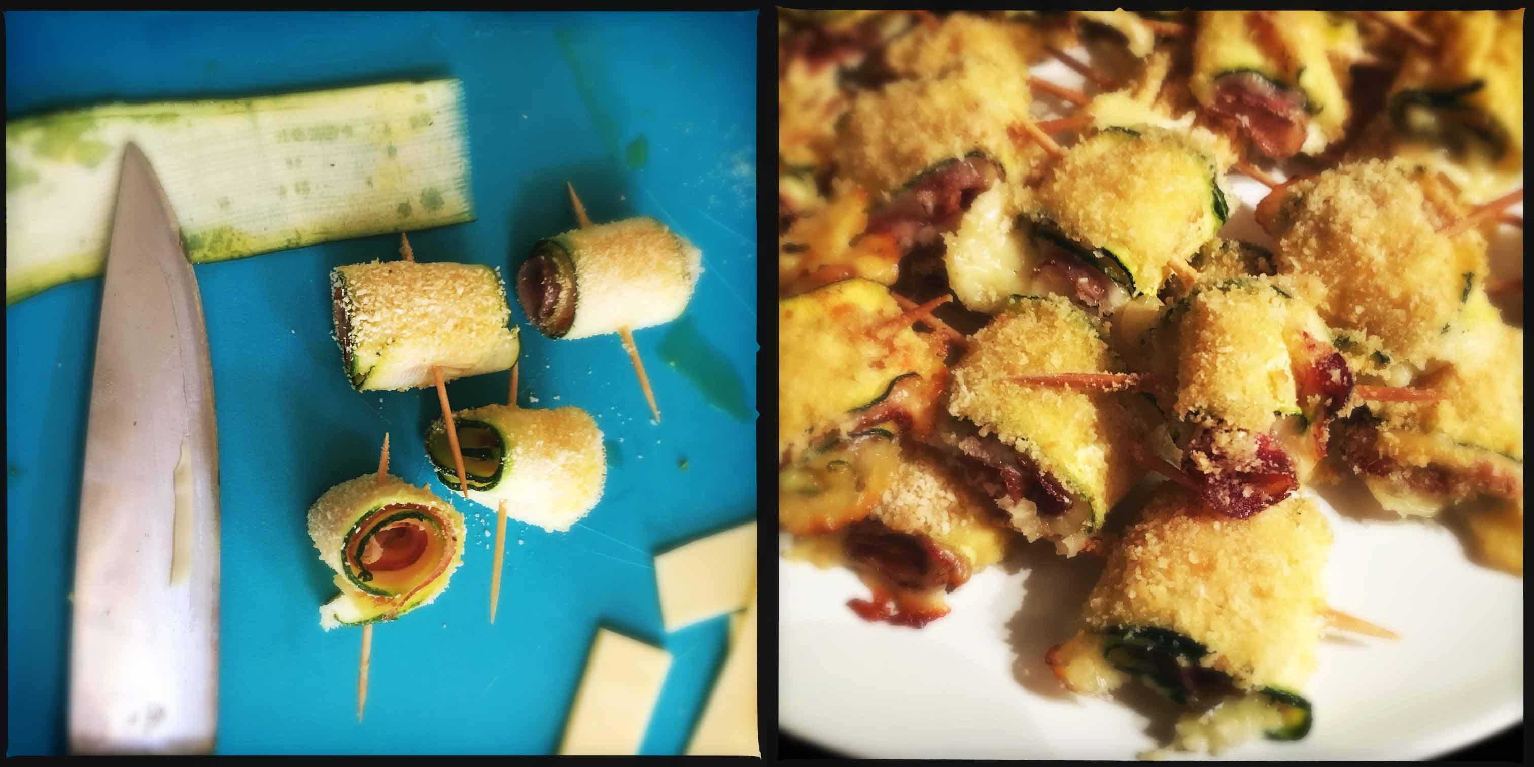 Involtini di zucchine, fontina e pancetta