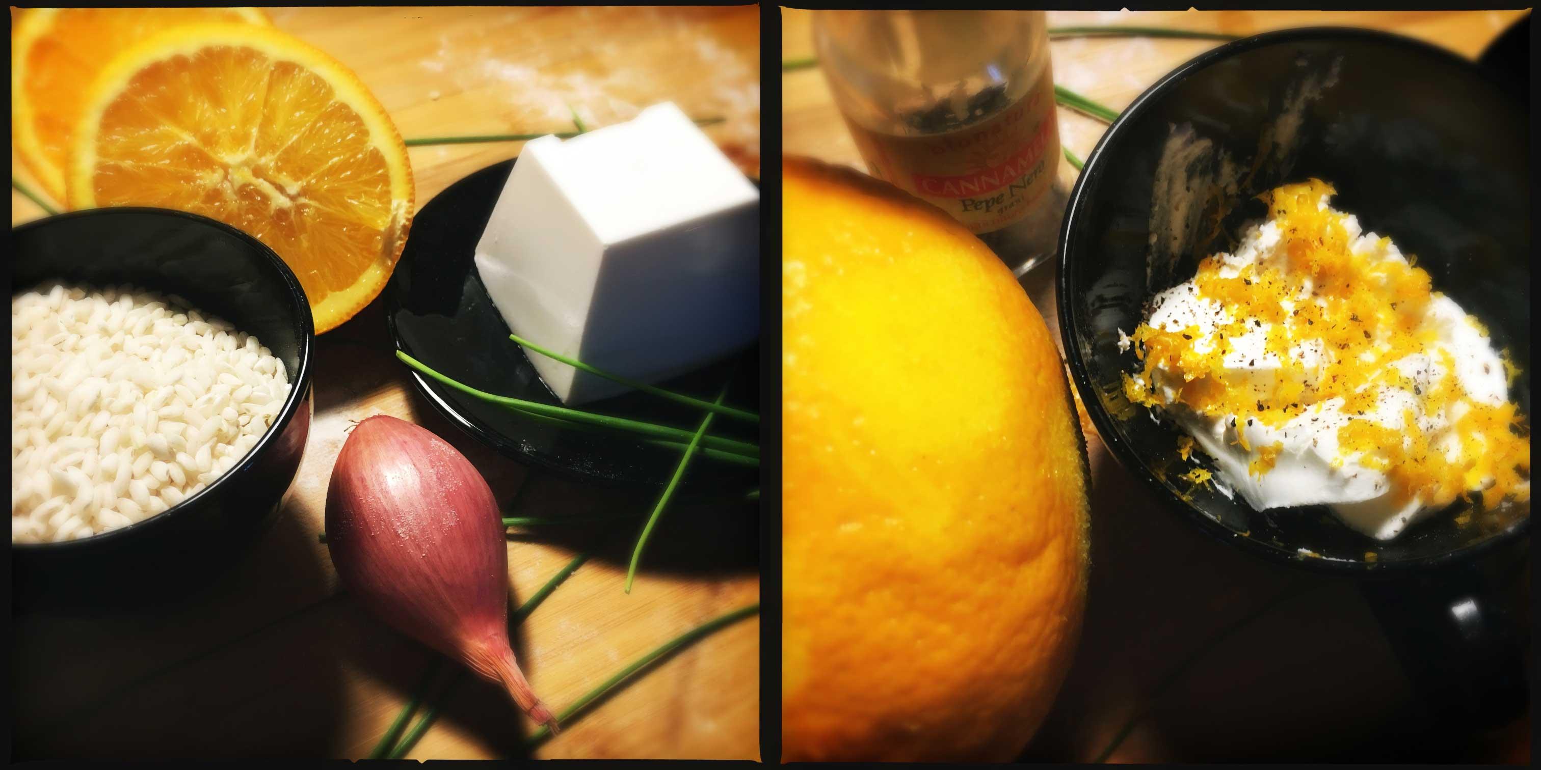 Risotto all'arancia e caprino