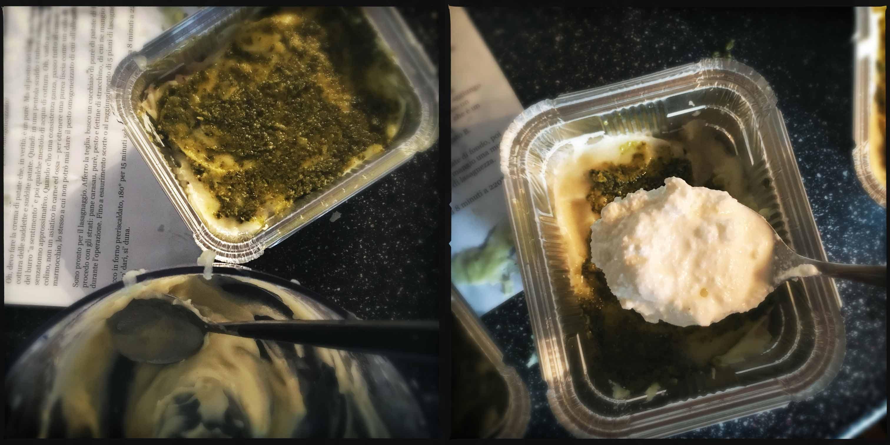 Lasagne di pane carasau con pesto alla genovese, crema di patate e prescinsoa