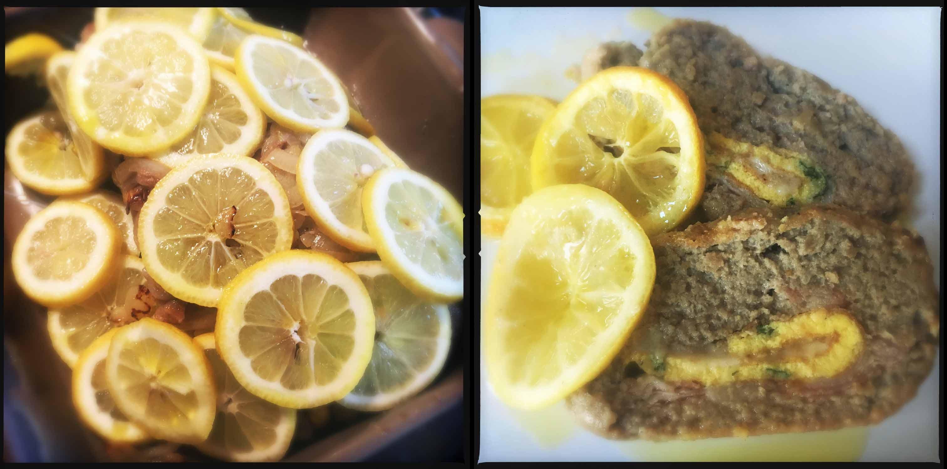 polpettone aromatico al limone con pancetta e scamorza