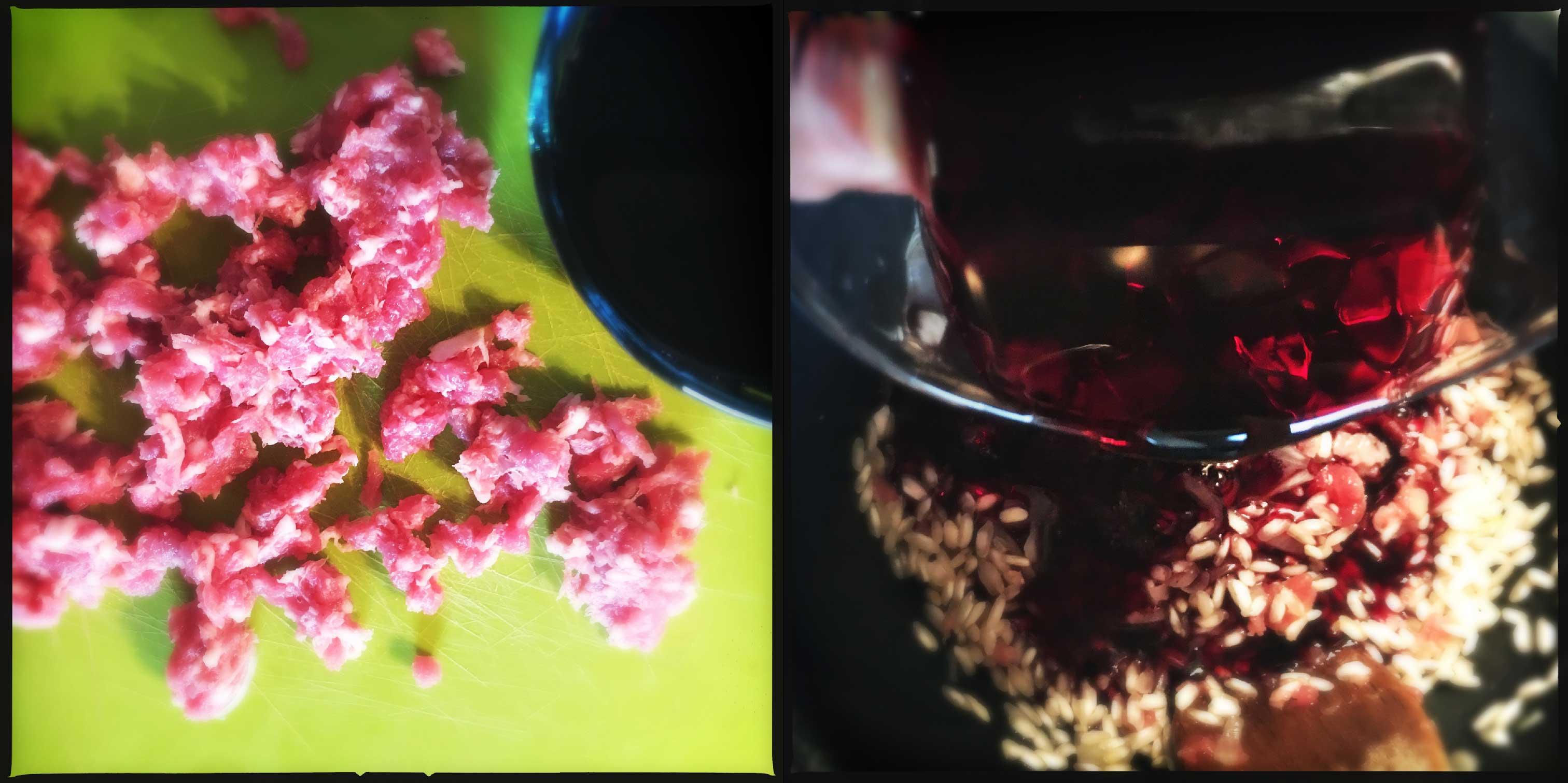 Risotto con pasta di salame e Bonarda su crema al Gorgonzola