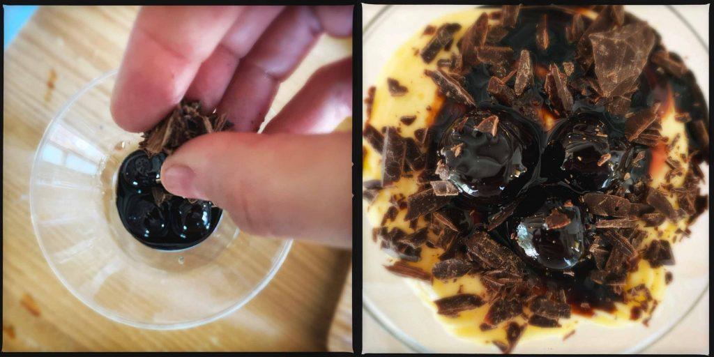 Crema al mascarpone con cioccolato fondente e amarene